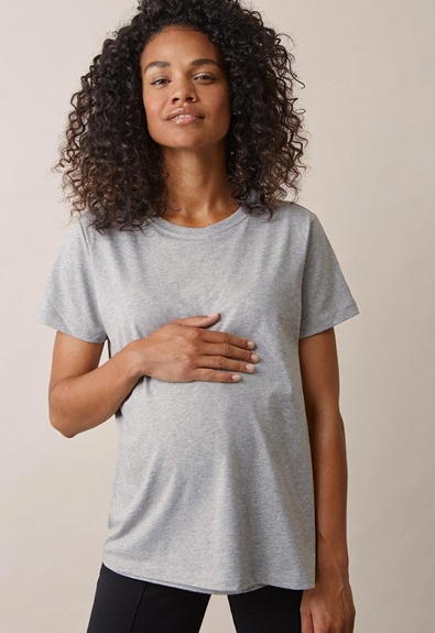 The-shirt - Grey melange - XS (1) - Maternity top / Nursing top