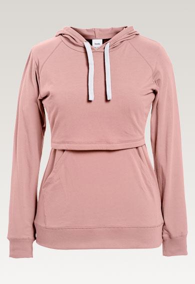 B Warmer hoodie - Mauve - S (6) - Maternity top / Nursing top