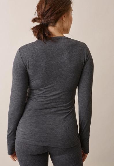 Langärmeliges Shirt aus Merinowolle - Dk grey melange - M (3) - Umstandsshirt / Stillshirt
