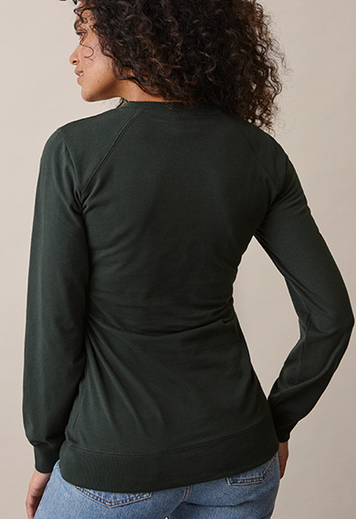 B Warmer sweatshirtdeep green (2) - Maternity top / Nursing top