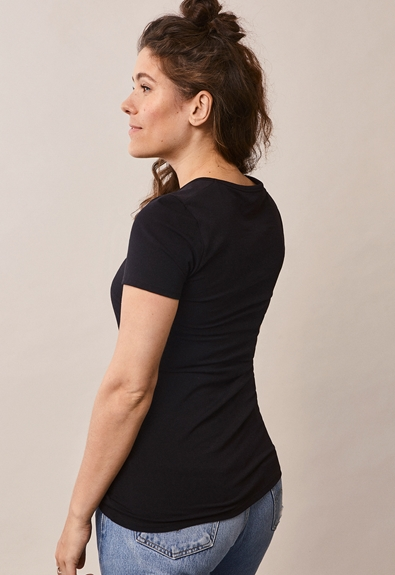 Classic short-sleeved top - Black - XL (4) - Maternity top / Nursing top