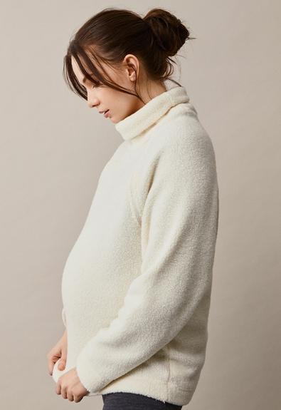 Fleecepullover aus Wolle - Tofu - L/XL (3) - Umstandsshirt / Stillshirt