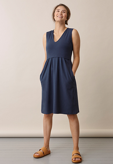 Tilda dressthunder blue (2) - Maternity dress / Nursing dress