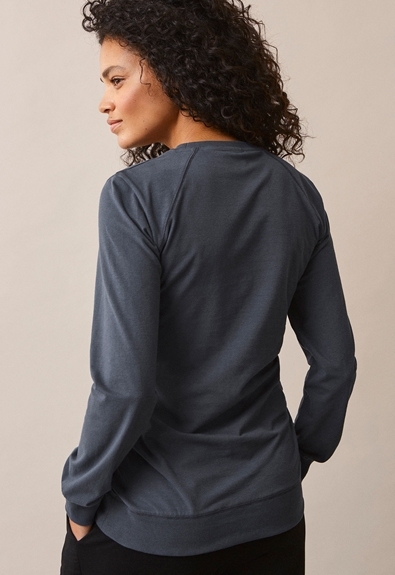 B Warmer sweatshirt - Steel blue - L (3) - Maternity top / Nursing top