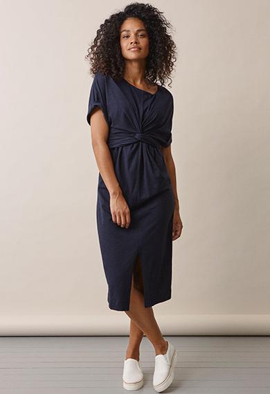 Zadie s/s dressmidnight blue (3) - Gravidklänning / Amningsklänning