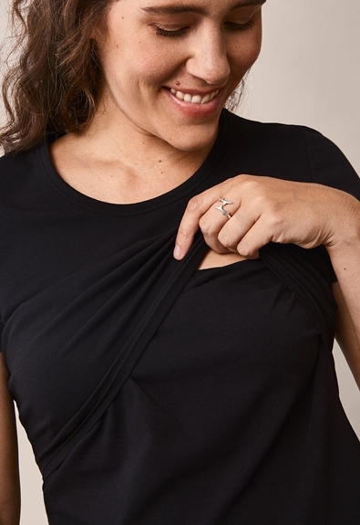 Classic short-sleeved top - Black - XL (5) - Maternity top / Nursing top