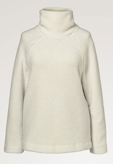 Fleecepullover aus Wolle - Tofu - L/XL (7) - Umstandsshirt / Stillshirt