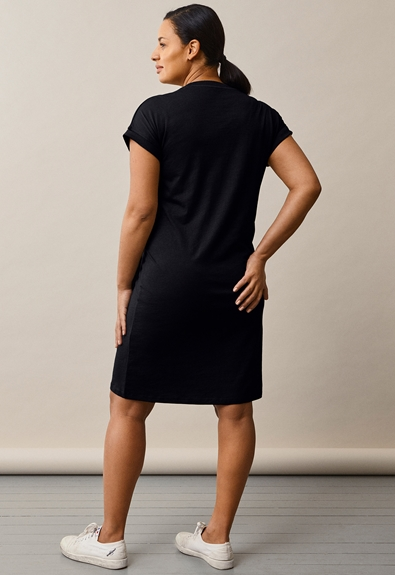 The-shirt dress - Black - S (2) - Maternity dress / Nursing dress