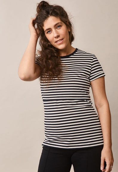 Franka t-shirt - Block black/tofu - XL (2) - Maternity top / Nursing top