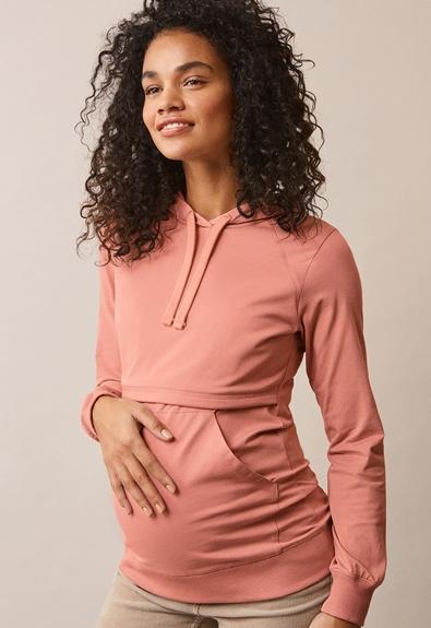 B Warmer hoodie - Canyon clay - L (1) - Maternity top / Nursing top