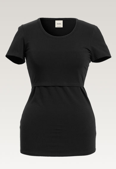 Classic short-sleeved top - Black - XL (6) - Maternity top / Nursing top