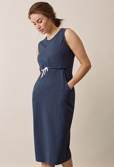 Naima dressthunder blue (1) - Maternity dress / Nursing dress