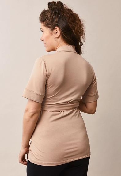 Lounge wrap top - Sand - M (4) - Maternity top / Nursing top