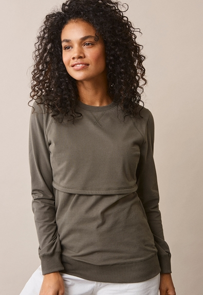 B Warmer sweatshirt - Olive leaf - S (1) - Maternity top / Nursing top