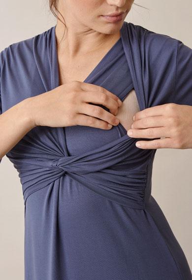 La La dressthunder blue (5) - Maternity dress / Nursing dress