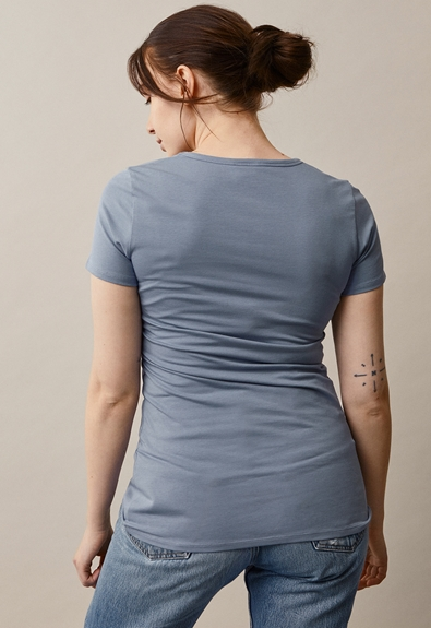 Classic short-sleeved top - Blue ash - XXL (3) - Maternity top / Nursing top