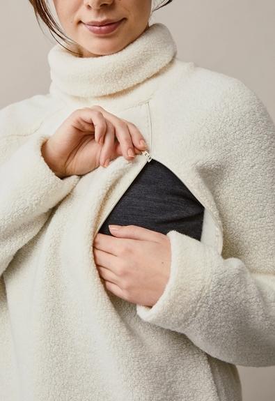 Fleecepullover aus Wolle - Tofu - L/XL (6) - Umstandsshirt / Stillshirt