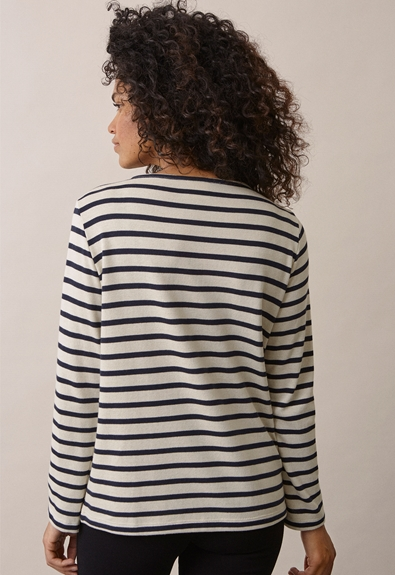 Breton long-sleeved top - Tofu/Midnight blue - L (3) - Maternity top / Nursing top