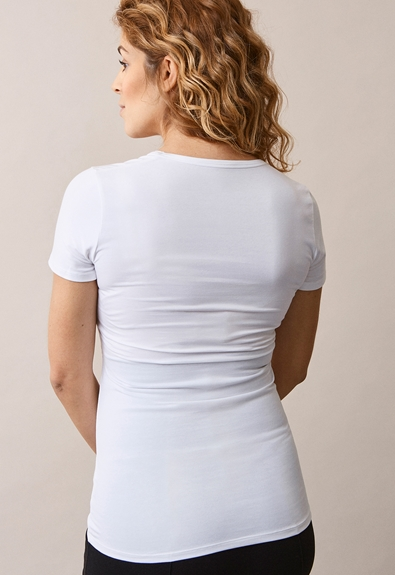 Classic short-sleeved top - White - L (2) - Maternity top / Nursing top