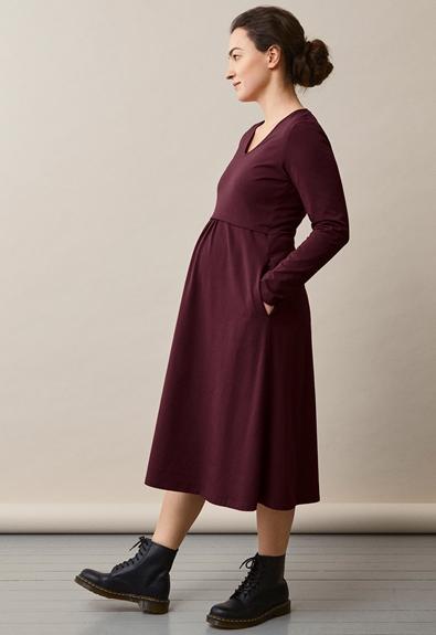Charlotte dress - Eggplant - XL (1) - Maternity dress / Nursing dress