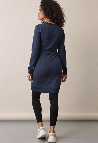 B Warmer dress - Thunder blue - S (2) - Maternity dress / Nursing dress