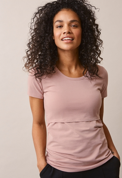 Classic short-sleeved top - Mauve - XS (1) - Maternity top / Nursing top