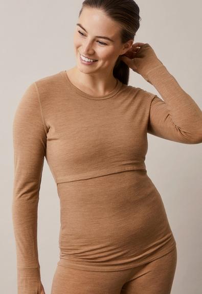 Merino wool l/s topbrown melange (2) - Umstandsshirt / Stillshirt