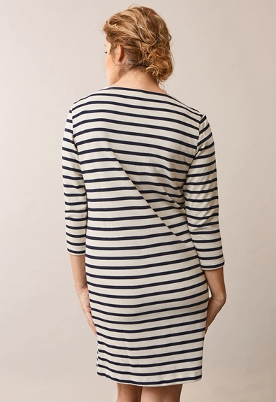 Breton dress with 3/4 sleeve - Tofu/Midnight blue - M (4) - Maternity dress / Nursing dress
