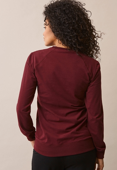 B Warmer sweatshirt - Burgundy - XS (3) - Maternity top / Nursing top