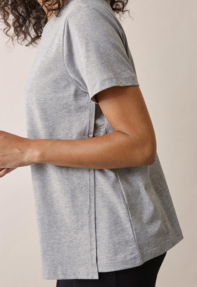The-shirt - Grey melange - XS (4) - Maternity top / Nursing top