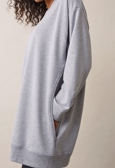 BFF sweatshirt - Grey melange - M (5) - Maternity top / Nursing top