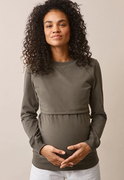 B Warmer sweatshirt - Olive leaf - S (2) - Maternity top / Nursing top