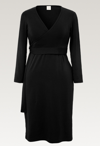 Giselle wrap dressblack (6) - Maternity dress / Nursing dress