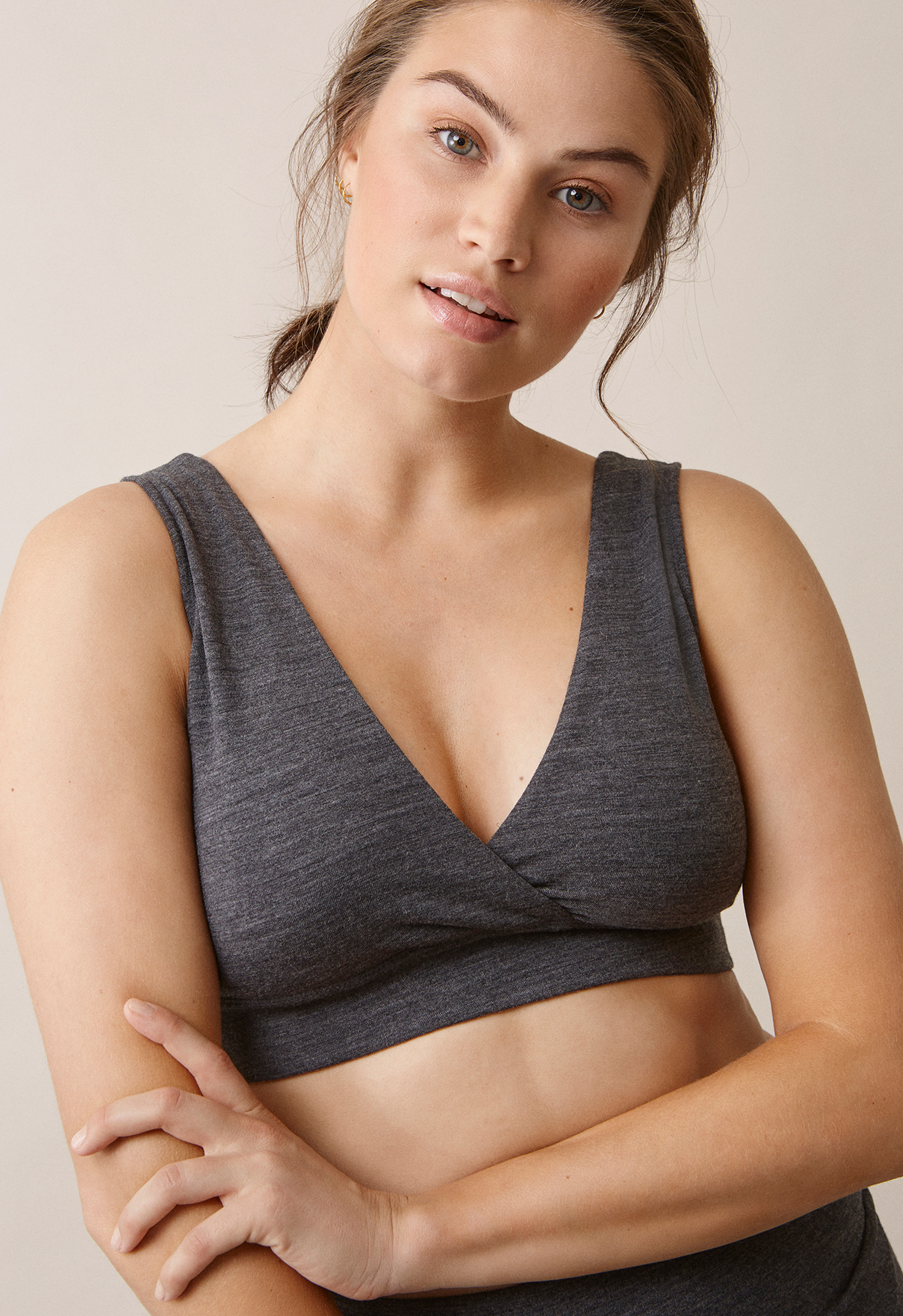 24/7 Merino wool bra, dk greymelange M (4) - Maternity Active wear / Nursing Activewear