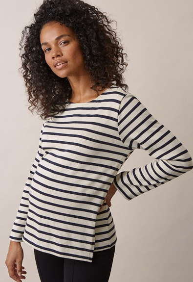 Breton long-sleeved top - Tofu/Midnight blue - L (1) - Maternity top / Nursing top