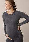 Langärmeliges Shirt aus Merinowolle - Dk grey melange - M - small (1)