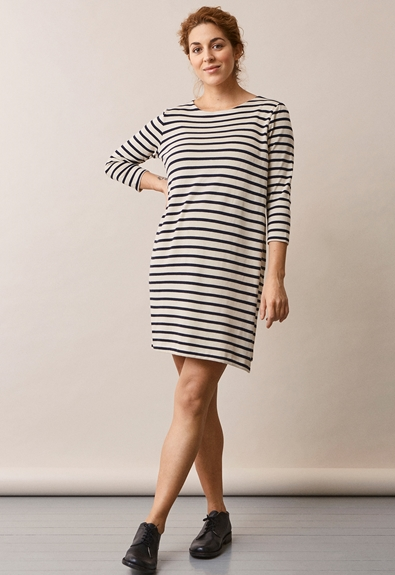 Breton dress with 3/4 sleeve - Tofu/Midnight blue - M (2) - Maternity dress / Nursing dress