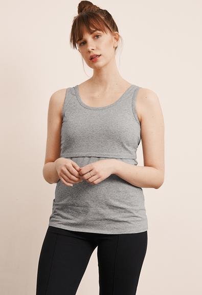 Classic linne - Grey melange - L (2) - Gravidlinne / Amningslinne