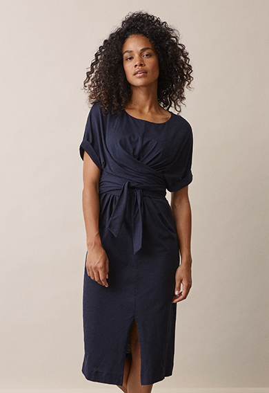 Zadie s/s dressmidnight blue (2) - Maternity dress / Nursing dress