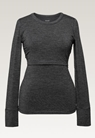 Long-sleeved merino wool top, dk greymelange M - small (9)